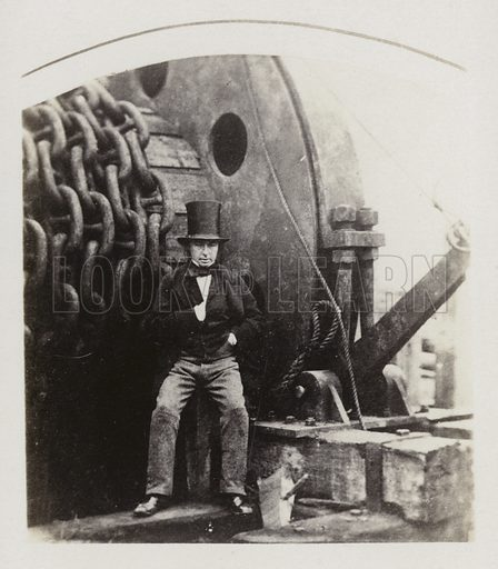Isambard Kingdom Brunel, designer of the Great Eastern, with the launching gear.