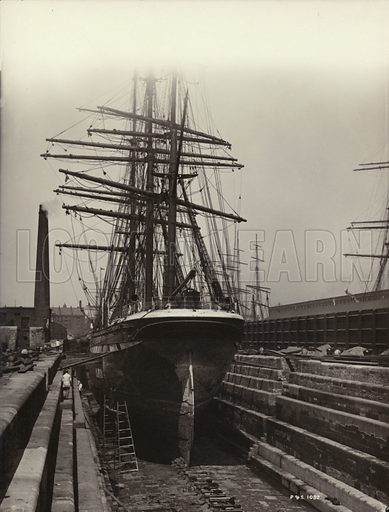 Parthenope, in a Liverpool dry dock, 1895.