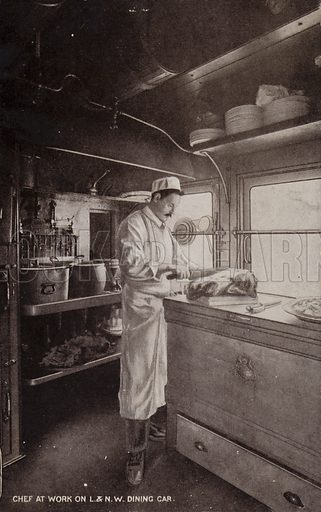 Chef at work on L and NW Dining Car.