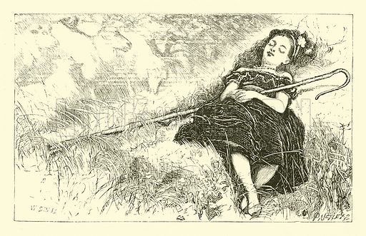 Little Bo-Peep. Illustration for National Nursery Rhymes set to music by J W Elliott (Novello, Ewer & Co, c 1880).