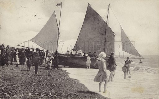 The beach, Bexhill on Sea.  Postcard, early 20th century.