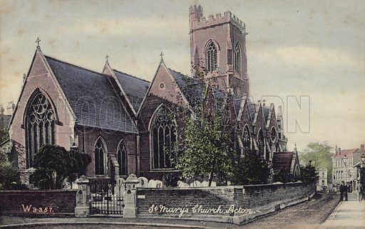 St Mary's Church Acton.  Postcard, early 20th century.