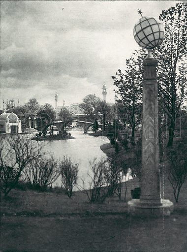 Globe emblems at the Great Wembley Exhibition of 1924. From the Illustrated London News 24 May 1924.