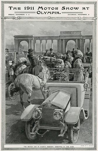 The Motor Car in Society – Morning Greetings in the Park. From The Sphere 14 November 1911.