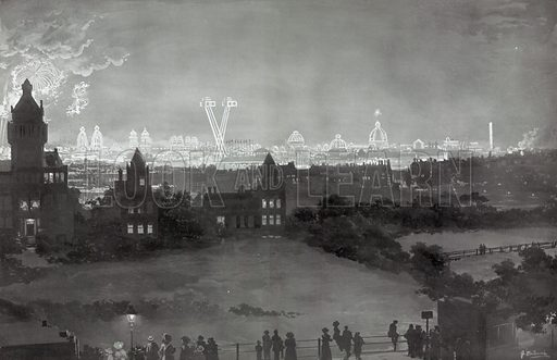 The Franco-British Exhibition of 1908 by Night. From The Sphere 9 October 1908.