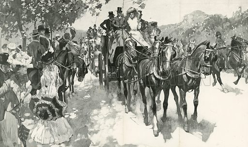 Opening of the Coaching Season: The Meet of the Coaching Club at the Powder Magazine, Hyde Park. From The Graphic 14 June 1902.