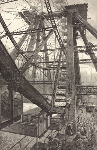 The Great Wheel at Earl's Court as seen from below. From The Graphic 20 July 1895.