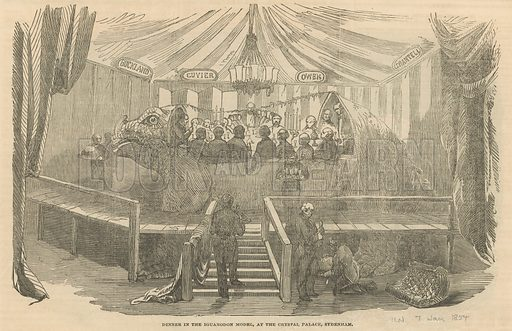 Dinner in the Iguanadon model, at the Crystal Palace, Sydenham. From the Illustrated London News 7 January 1854.