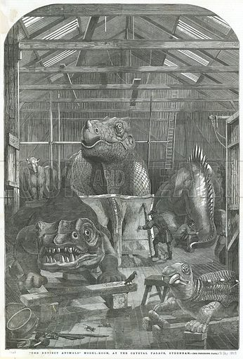 The Extinct Animals model room, at the Crystal Palace, Sydenham. From the Illustrated London News 31 December 1853.