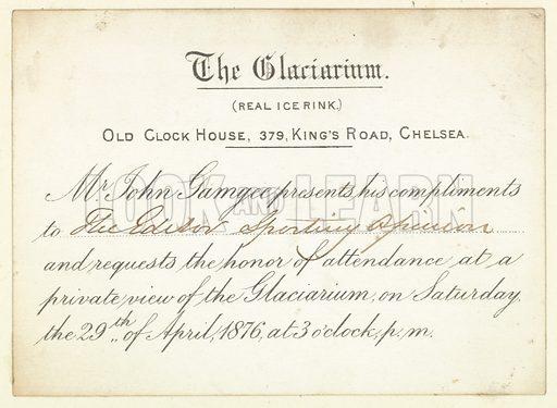 Invitation to The Glaciarium in 1876.
