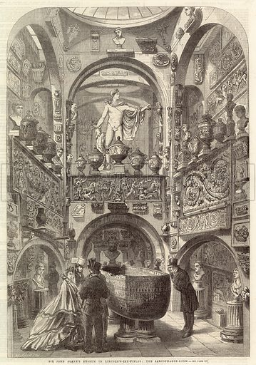 Sir John Soane's Museum in Lincoln's-Inn-Fields: the Sarcophagus Room. From the Illustrated London News 25 June 1864.