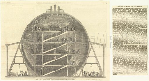 Mr Wyld's Model of the Earth – Sectional View. From the Illustrated London News 7 June 1851.