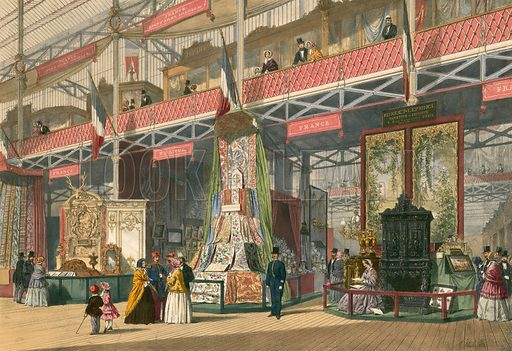 French section of The Great Exhibition of 1851. From Dickenson's Comprehensive Pictures. Large original.