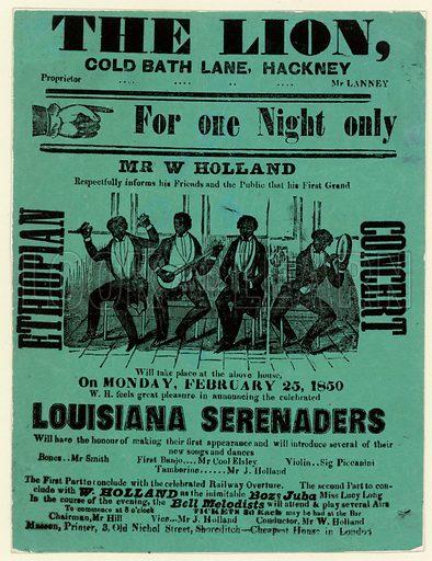 Louisiana Serenaders at the Lion, Hackney. Advertisement.