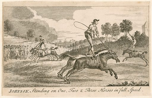 Thomas Johnson standing on one, two and three horses in full speed.