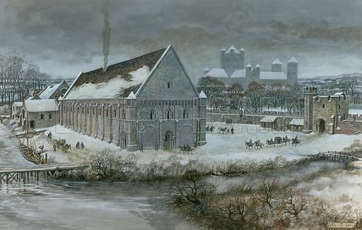 Westminster Hall in the snow.  Original artwork.