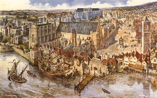Birdseye view of Westminster. Original artwork.