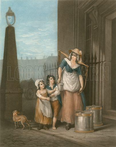 Milk below, maids. Cries of London. Mezzotint by Thomas Appleton, 1907.