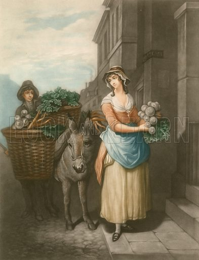 Turnips and carrots. Cries of London. Mezzotint by Thomas Appleton, 1907.