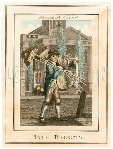 Shoreditch Church. Hair Brooms. Cries of London. Published 1804.