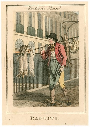 Portland Place. Rabbits. Cries of London. Published 1804.
