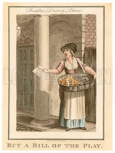 Theatre Royal Drury Lane. Buy a Bill of the Play. Cries of London. Published 1804.
