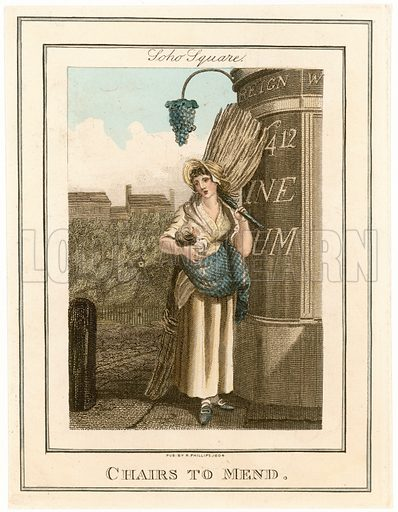 Soho Square. Chairs to mend. Cries of London. Published 1804.