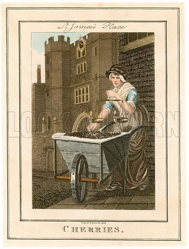 St James's Place. Cherries. Cries of London. Published 1804.