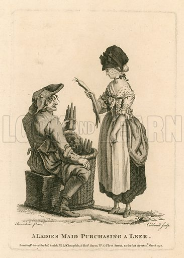 A ladies maid purchasing a leek. Cries of London.