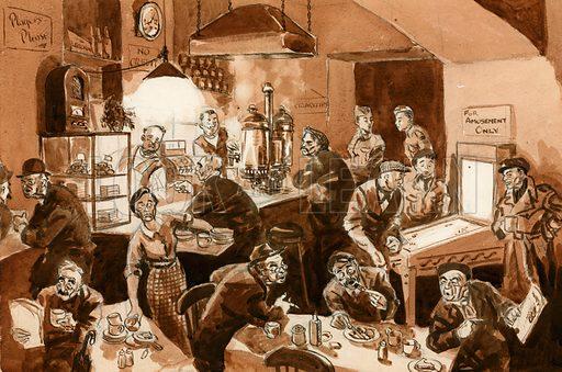 Workmen's cafe during WW2. Original artwork.