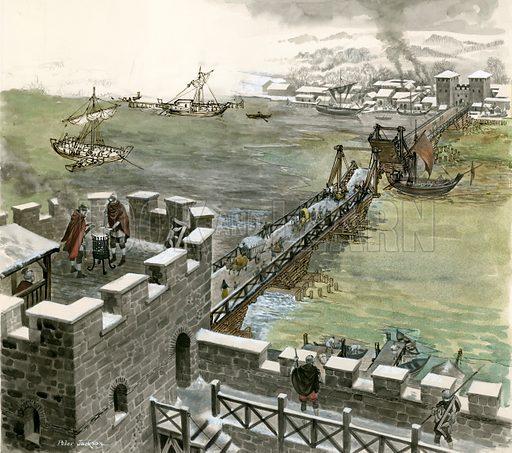 Bridge across the Thames constructed by the Romans. Original artwork.