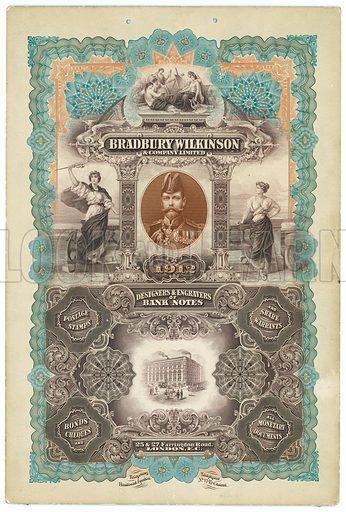 Bradbury Wilkinson & Co, designers and engravers of bank notes.