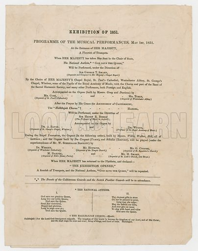 Great Exhibition of 1851. Programme of Musical Performances, 1 May 1851.