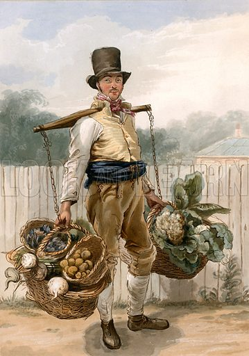 Man carrying vegetables.