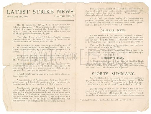 Latest Strike News, 7 May 1926.