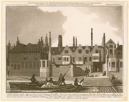 The Water Front of the Buildings on the eastern side of New Palace Yard. Drawn 1808.