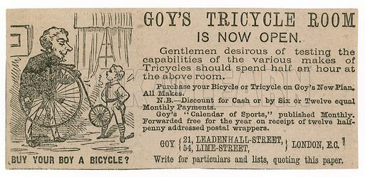 Goy's Tricycle Room. Advertisement.