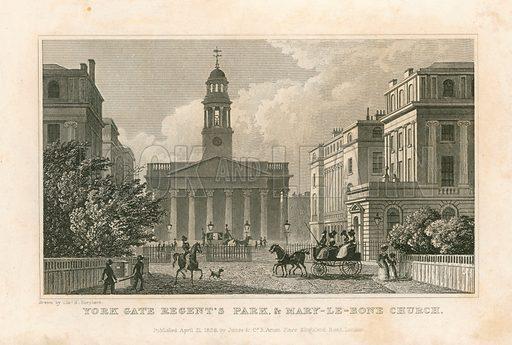 York Gate Regent's Park, and Marylebone Church, London. Published 1828.