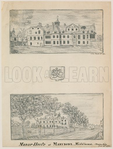 Manor House at Marylebone, London. Dated 1791. Signed J Pridden.