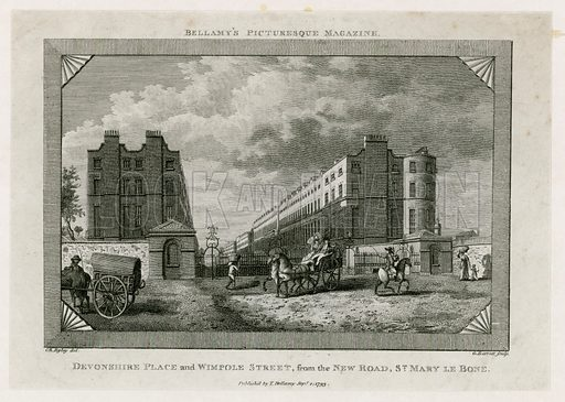 Devonshire Place and Wimpole Street from the New Road, St Marylebone. Published 1793.