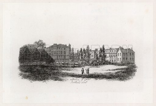The Entrance of Great Portland Street, Marylebone, London. Published 1808.