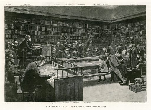 A Book Sale at Sotheby's Auction Room. From The Graphic 26 May 1888.