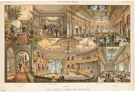 The Criterion Theatre and Restaurant. From the Pictorial World 22 May 1888.