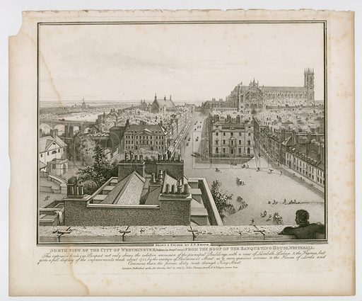 North View of the City of Westminster from the roof of the Banqueting House, Whitehall. Taken September 1807.
