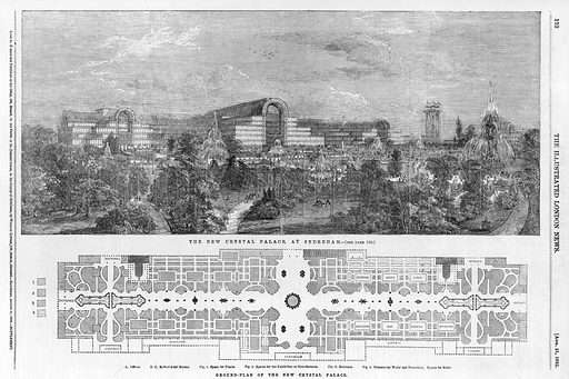 The New Crystal Palace at Sydenham. From the Illustrated London News, 21 August 1852.