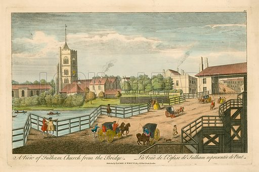 A view of Fulham Church from the Bridge.