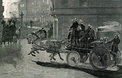 A Fire Engine on its way to a conflagration. From The Graphic 11 January 1890.