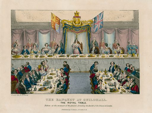 The Banquet at Guildhall. The Royal Table. Drinking the Health of the Citizens of London.
