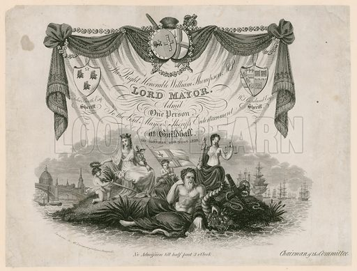 Ticket for admission to Lord Mayor's Entertainment on 10 November 1828.