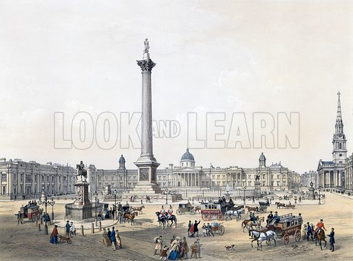 Trafalgar Square with the National Gallery and St Martin's Church. Published 1 May 1852. Original colours digitally restored.